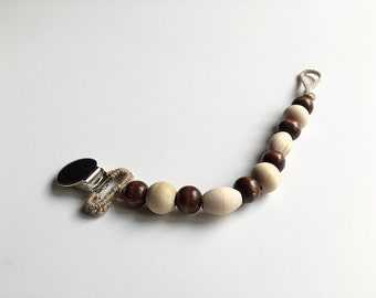 Fawn Oval --  NomiLu Oval Stained Beaded Pacifier Clip (Ring sold separately)