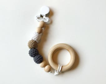 Dreamer Clip - Crocheted Beads Pacifier Clip