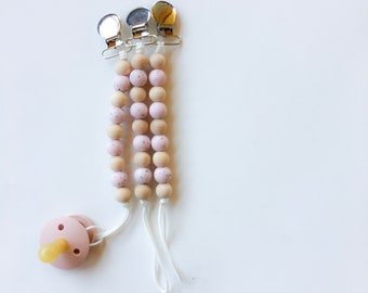 Pink Speckled Pebbles Clip - NomiLu Silicone Clip - PACIFIER NOT INCLUDED