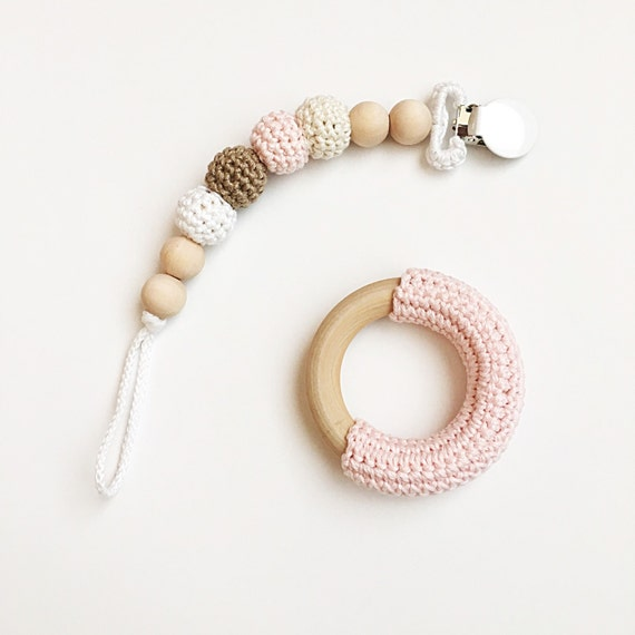 Neapolitan Clip -- Crocheted Beads Pacifier Clip --  RING SOLD SEPERATELY