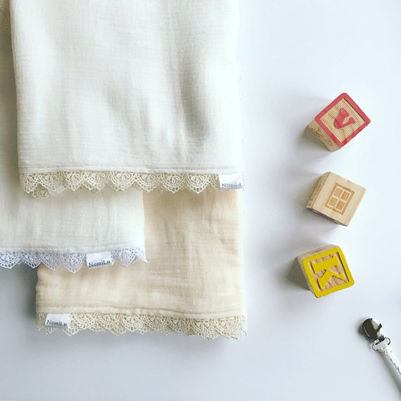 PREORDER - NomiLu Heirloom Lace Swaddle Blanket -- Muslin Cotton Gauze and Lace
