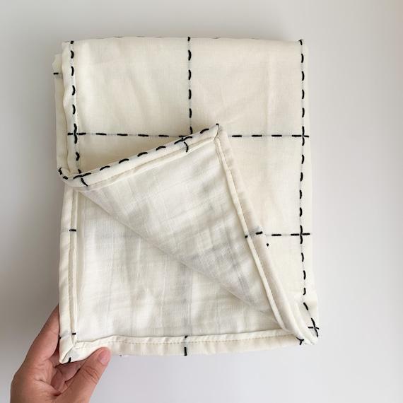 Black Grid LINEN Blanket