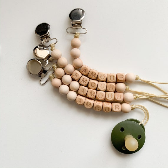 Amour Clip - Wooden Beads (Pacifier NOT included)