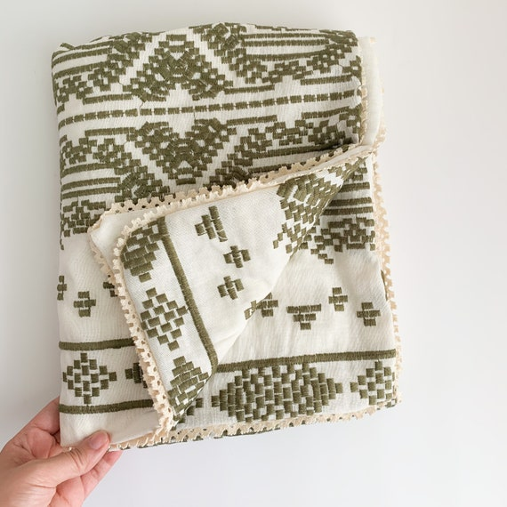 Embroidered Olive LINEN Heirloom Blanket