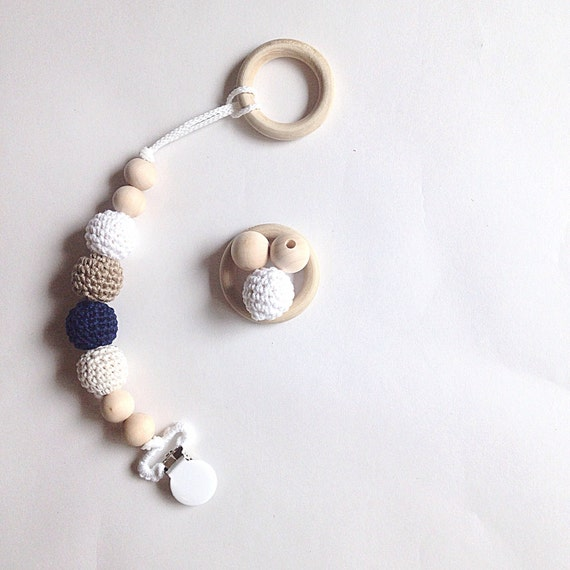 NomiLu Maritime Clip -- Crocheted Beads Pacifier Clip -- Eco-friendly pacifier clip -- crocheted wooden beads -- Baby Teether
