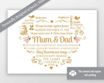 Personalised Mum and Dad 25th SILVER Wedding Anniversary Word Art Canvas Print