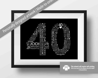 40th Birthday Gift For Women Friend Mom Sister Personalised Custom Word Art Typography 11x14 Black And White Monochrome
