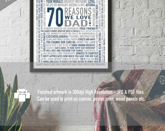 Custom 70th Birthday Gift For DAD 70 Reasons Why We Love You Unique Personalised Word Art 16x20 DIGITAL Download