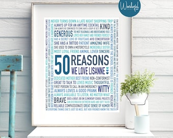 50th Birthday Gift For Best Friend Her Women DIGITAL File 50 Reasons Why We Love Unique Teals And Blues
