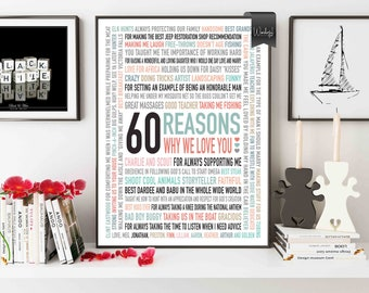 Custom 60th Birthday Gift For DAD Men 60 Reasons Why We Love You Him Word Art 16x20 DIGITAL Download