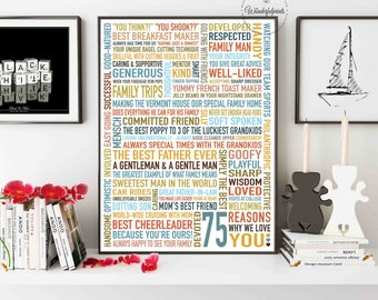 75 REASONS Why We Love You Gift For Parents Dad 75th Birthday HIM DIGITAL File Unique Custom Word Art