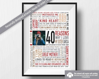 40th Birthday Gift For Sister Her DIGITAL File Reasons Why I Love You Unique Personalised Word Art Red Black Brown