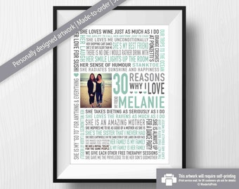 Best Friend Gift Reasons Why I Love You Personalised 30th Birthday Word Art Friendship Print Digital Download