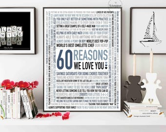 Custom 60th Birthday Gift For DAD 60 Reasons Why We Love You Unique Personalised Word Art 16x20 DIGITAL Download
