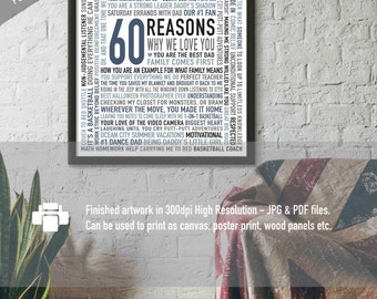 Personalised 60th Birthday Gift For DAD Husband Men 60 Reasons We Love You Printable Unique 16x20 DIGITAL Download