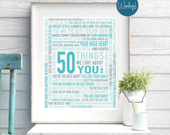 50th Birthday Gift For Best Friend Her Women DIGITAL File 50 Reasons Why I Love Unique Teal Turquoise