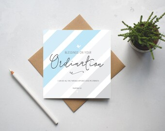 Blessings On Your Ordination Card - Philipians 4:13 - Christian Cards - Christian Gifts - Ordination Gift - (GC123)