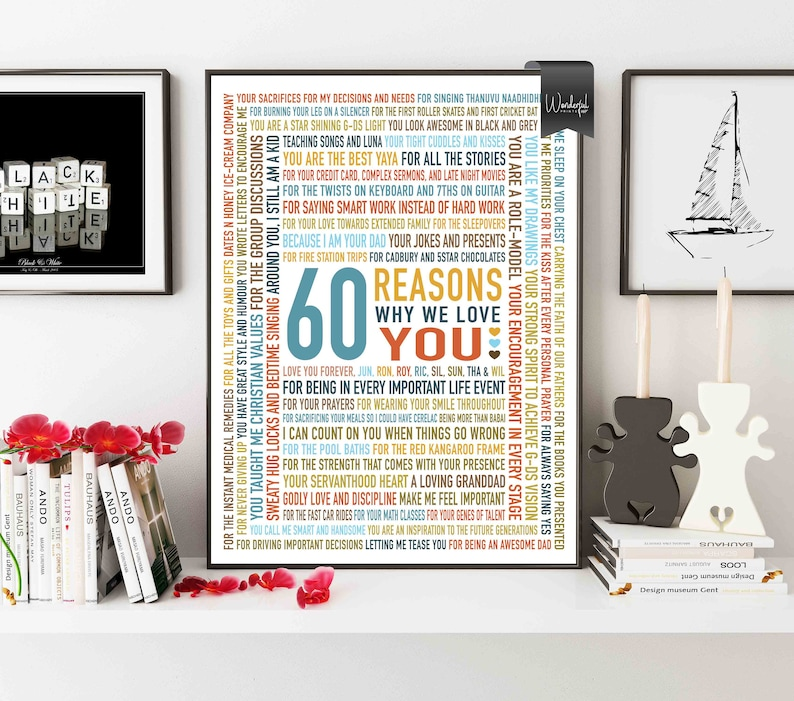 Custom 60th Birthday Gift For DAD Grandpa Men HIM 60 Reasons Why We Love You Unique Personalised 16x20 DIGITAL Download