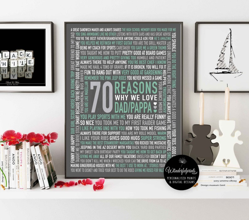 70 REASONS We Love Dad 70th Birthday Gift For HIM Her DIG