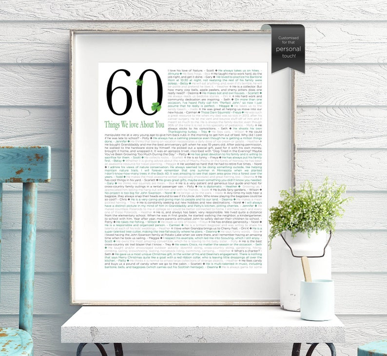 60th 70th 80th Birthday Gift 60 70 80 Things We Love About