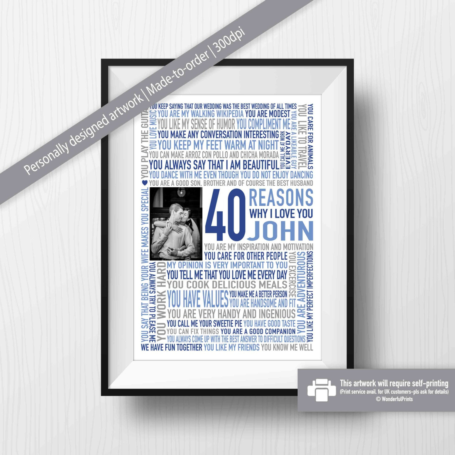 40th Birthday Gift For HIM Husband Him HER Digital Download Reasons Why I Love You Word Art