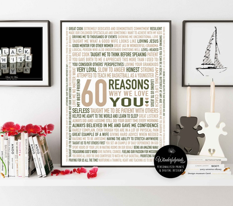 Custom 60th Birthday Gift For MOM Nana 60 Reasons Why