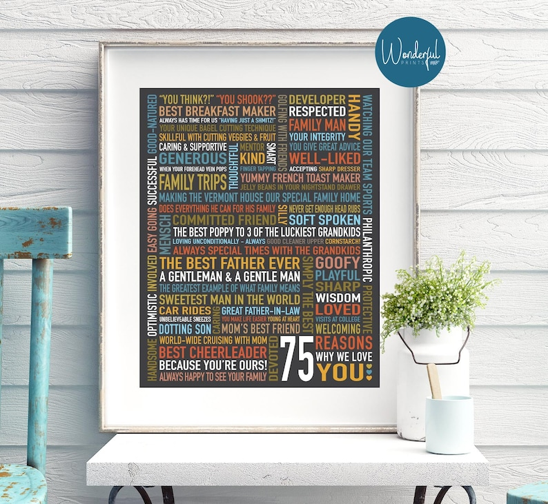 Custom 75th Birthday Gift For DAD HIM 75 Things We Love About Dad Unique Personalised Word Art 16x20 DIGITAL Download