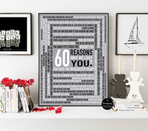 Custom 60th Birthday Gift For MOM 60 Reasons Why We Love You