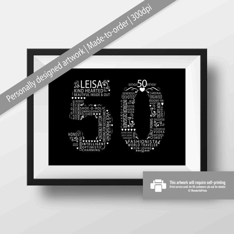 Best Friend Gift Idea 50th Birthday For Her Personalised Typography 11x14 Black And White Monochrome DIGITAL File