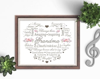 Gift for Grandma / Gift for HER / Birthday Gift for Grandma / Mothers Day Gift / Instant Download / Printable / 8x10 / Word Art /