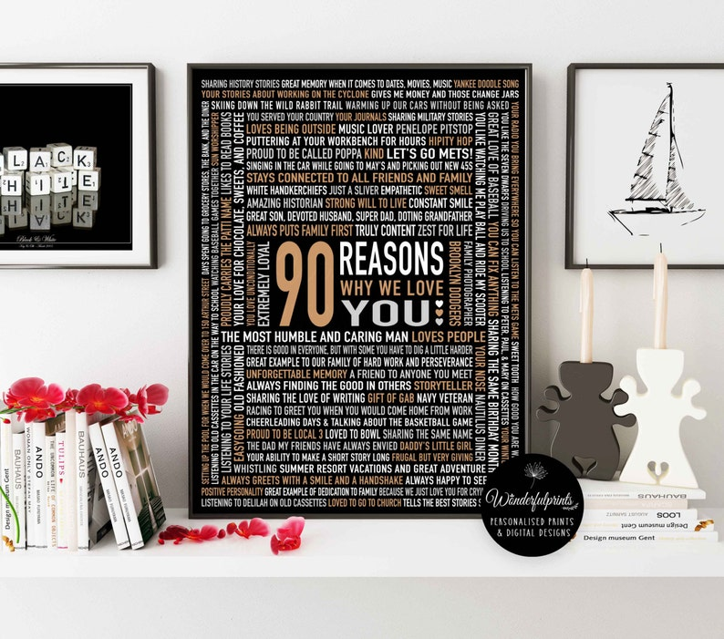 Custom 90th Birthday Gift For DAD HIM 90 Reasons Why