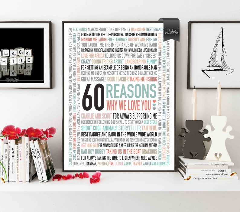 Custom 60th Birthday Gift For DAD Men 60 Reasons Why We Love You