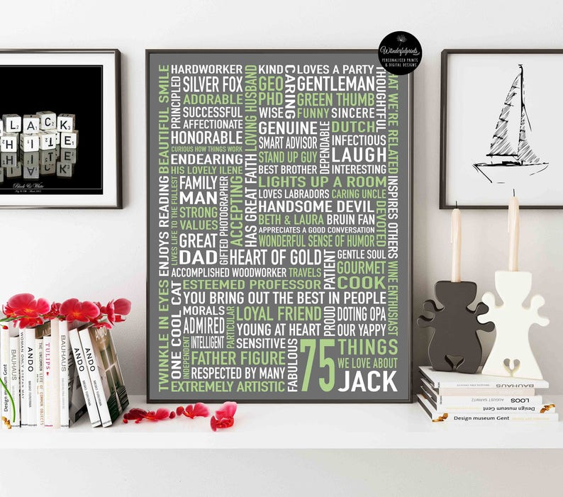 75 THINGS We Love About You Jack 75th Birthday Gift For