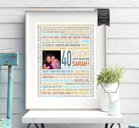 Custom Gift For BEST FRIEND Friendship Print 40th Birthday