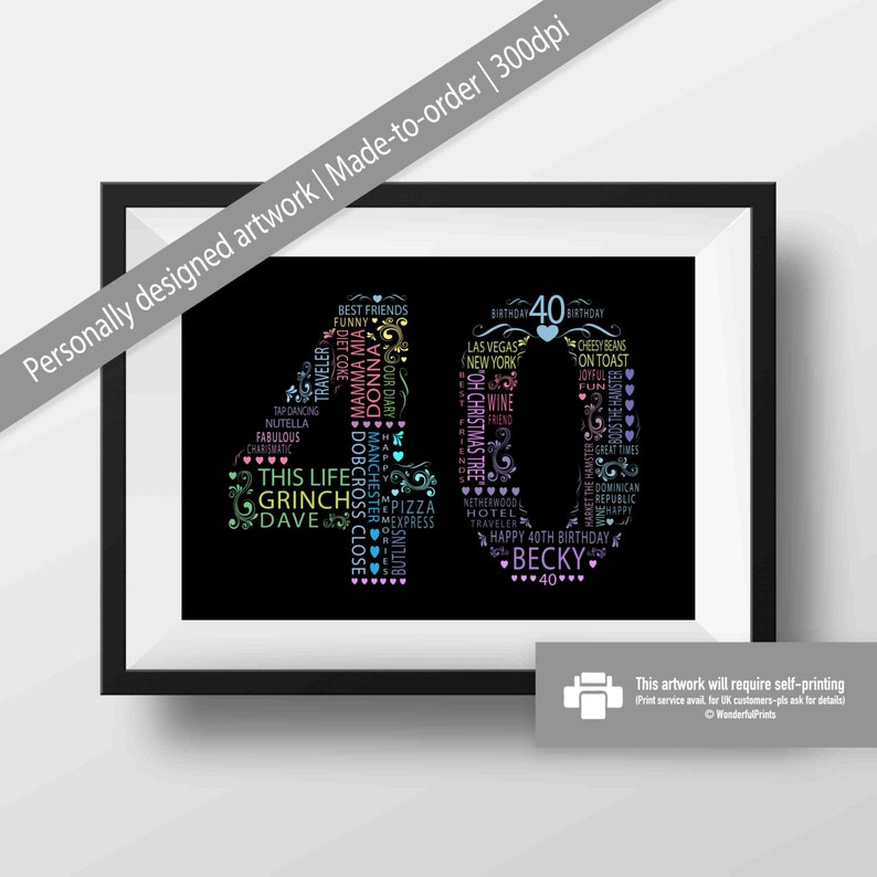 Colorful 40th Birthday Gift For Woman Friend Mom Sister
