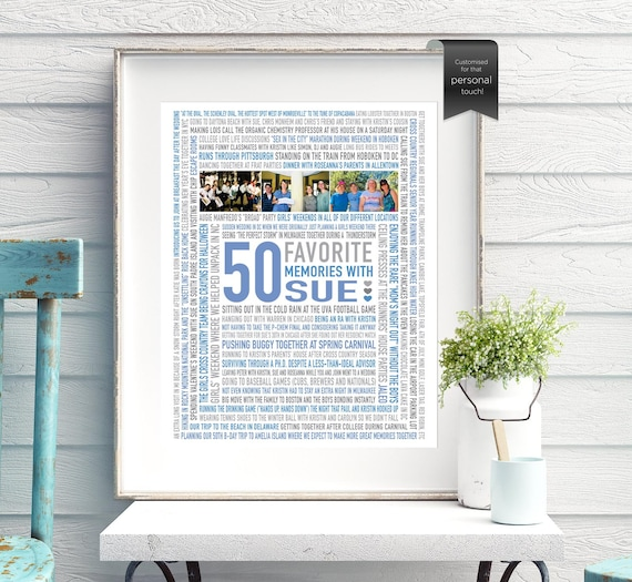50e Verjaardag Cadeau Idee Voor Vrouwen 50 Memories Beste Vriend 50e Verjaardag Cadeau Voor Haar Digitale Bestand Custom Word Art 16x20