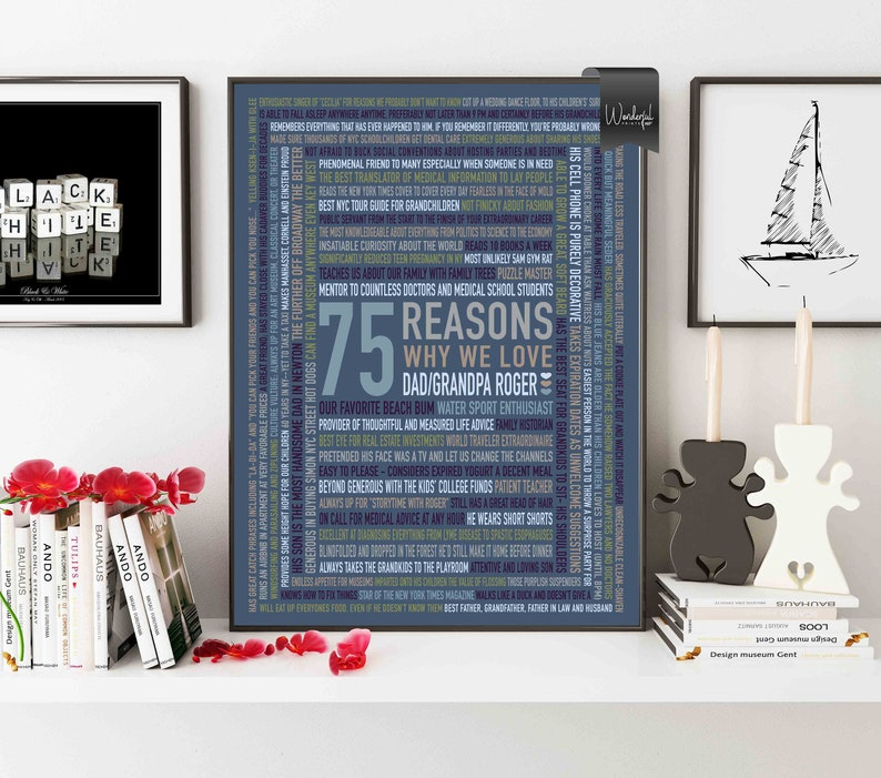Gifts For Dad Grandpa 75th Birthday Gift 75 Reasons Why We