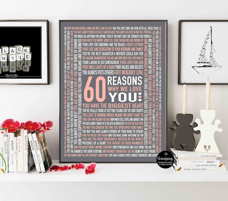 60 Reasons Why We Love You Custom 60th Birthday Gift For MOM