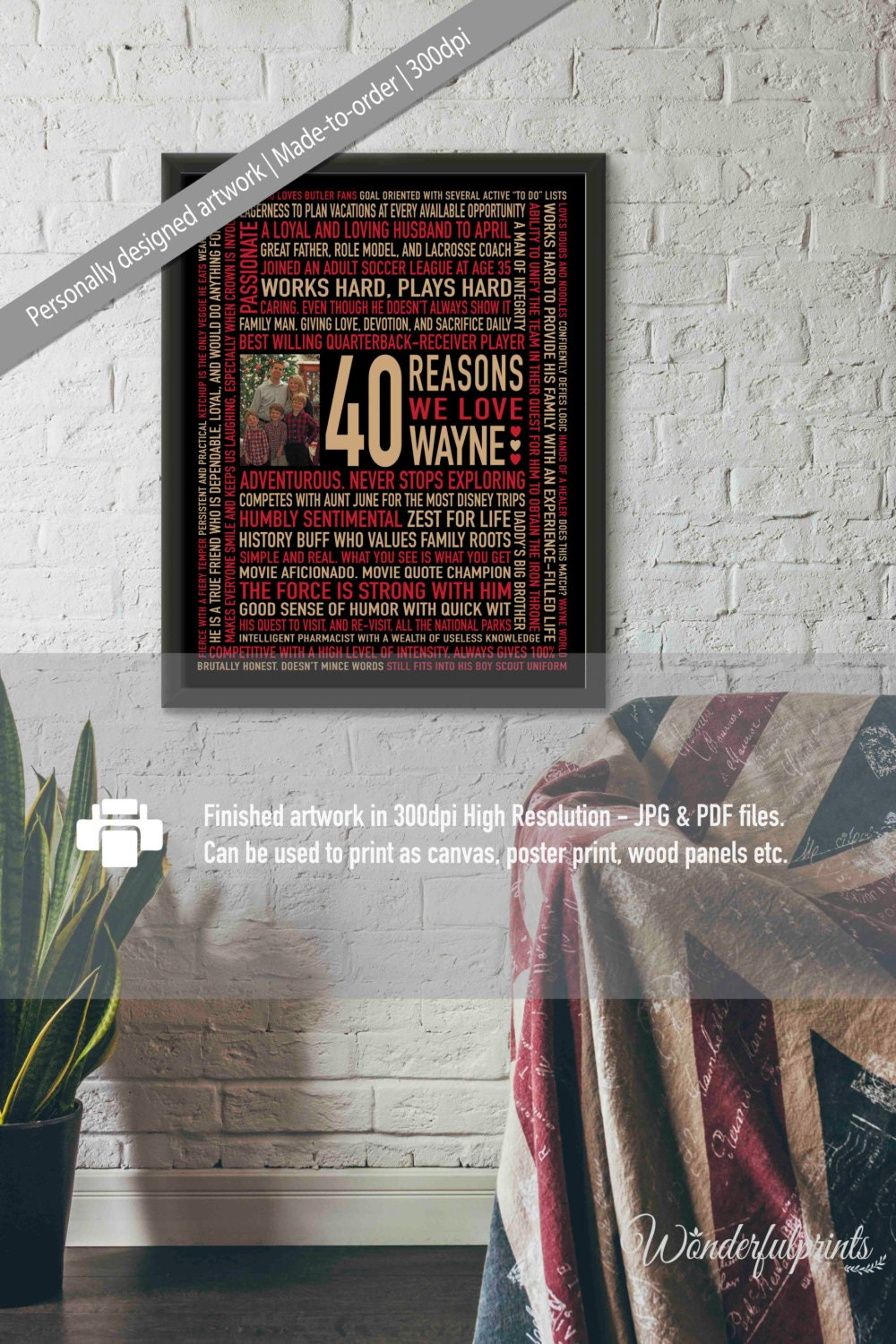 40th Birthday Gift For Men Husband DAD DIGITAL File 40 Reasons Why We Love You Unique Red Gold Black