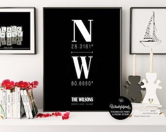 Custom Coordinates / New Home Housewarming Gift / Minimalist / City Coordinates / New Home Print / Longitude Latitude / Christmas Gift