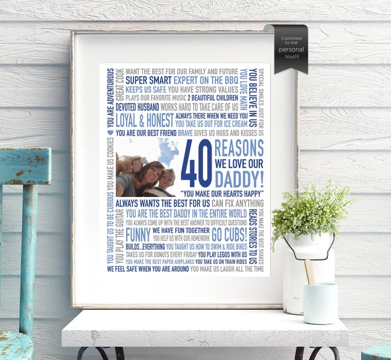 Custom 40th Birthday Gift For Daddy From Kids DAD Gifts