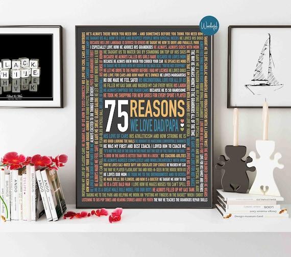 Custom 75th Birthday Gift For HIM Dad 75 Reasons Why