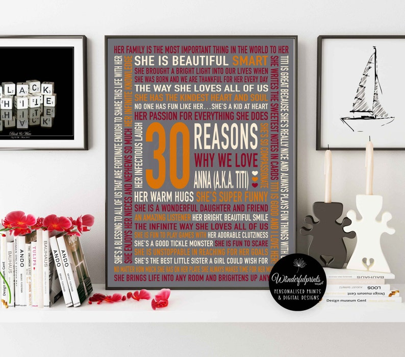 Best Friend Gift Ideas 30 Reasons Why I Love You Custom