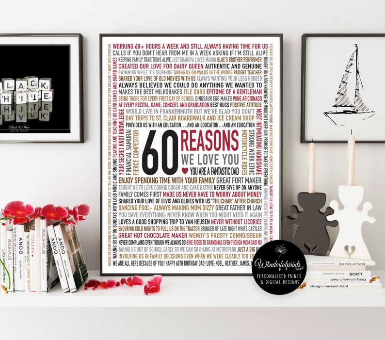 Custom 60th Birthday Gift For DAD 60 Reasons Why We Love You
