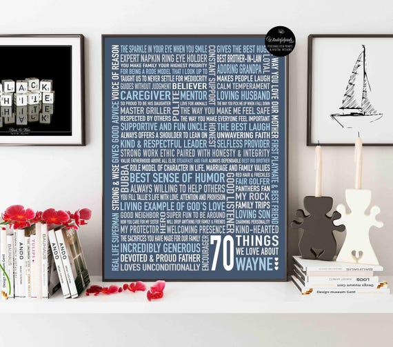 70 Things We Love About Dad For Mom 70th Birthday Gift
