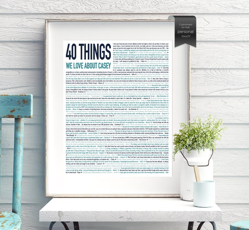 40th Birthday Gift For HIM 40 Reasons Gifts Men