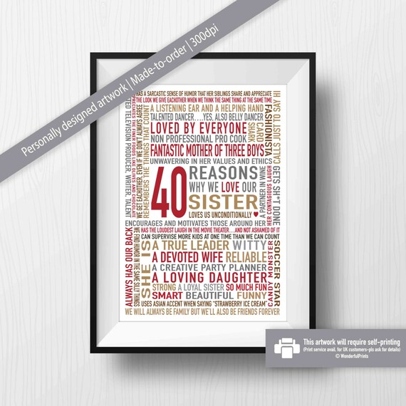 40th Birthday Gift For Sister Gifts Her