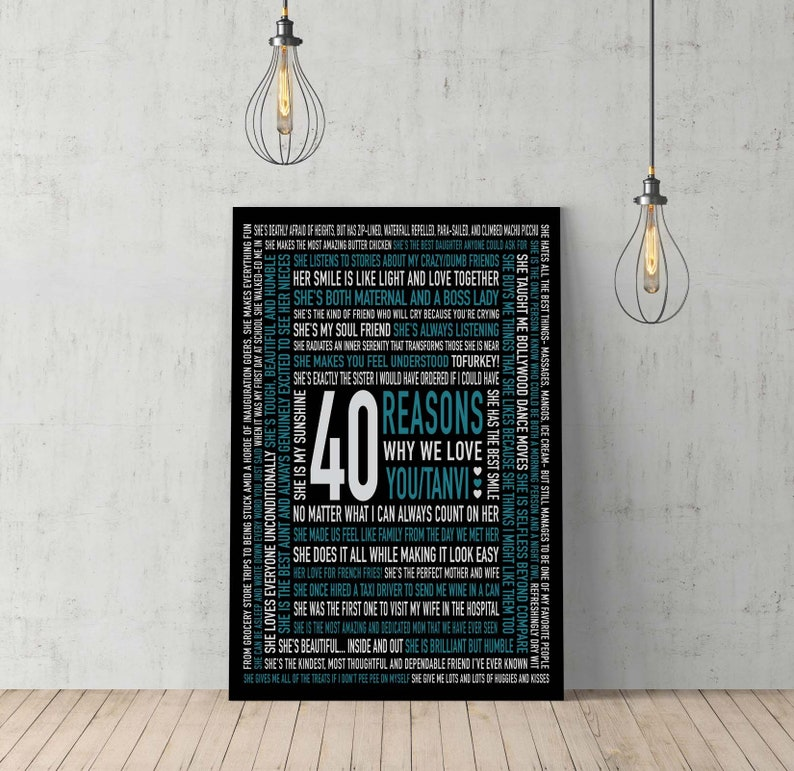 40th Birthday Gifts For Women Ideas Canvas Art CUSTOM Artwork 40 Reasons We Love You Forty And Fabulous