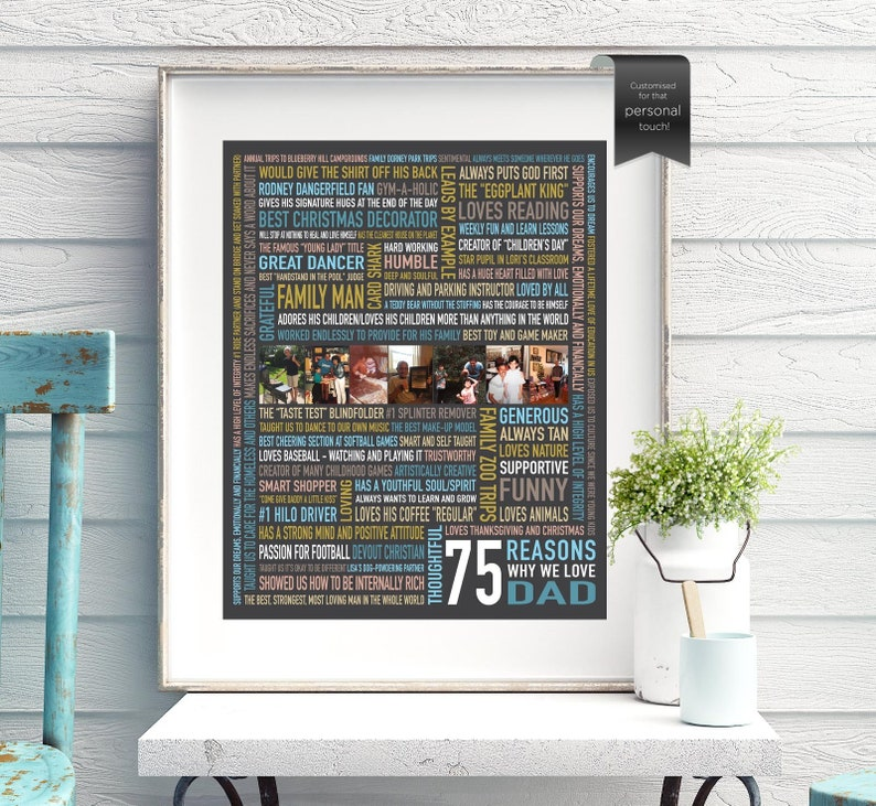 Custom 75th Birthday Gift For Dad Husband Gifts