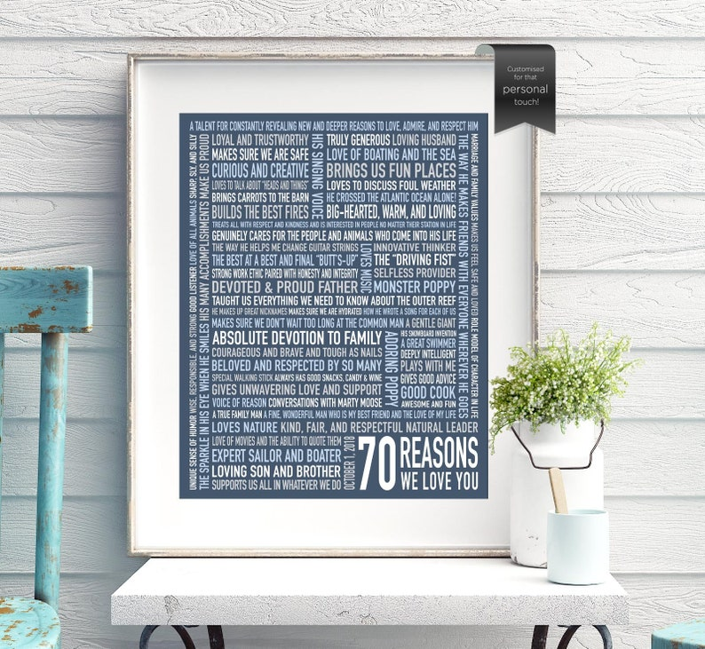 70 Reasons We Love You For Men Dad 70th Birthday Gift